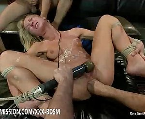 Blonde babe gets masturbation anal and cumshots