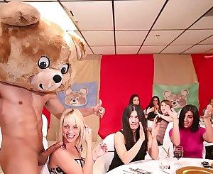 DANCING BEAR - A Bunch Of Horny Women Suck Masculine Stripper Dicks At A CFNM Party