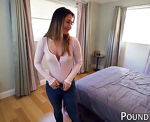 Perfect honey Eva Lovia shows her nut sack while doggystyled