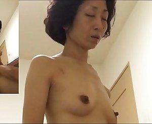 Mature wifey Miyuki pants at the woman on top posture