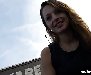 Amateur Czech street hooker is a master at eating jism POV