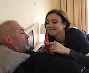 Kinky grandpa fucks young girl hardcore and she sucks his cock before swallowing the jizz shot