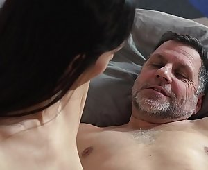 College student wakes up with old man in her bed and they have a xxx fuck in the morning the grandpa sticks his finger inside her ass when he fucks her doggystyle and has sex missionary with her panties still on