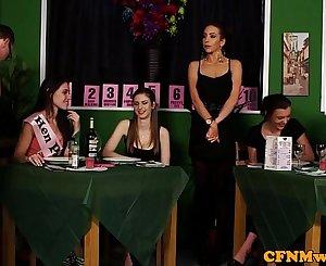 Female dom CFNM reverse gang bang